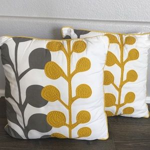 West Elm Yellow And Gray Pillows ~ 18 Sq.
